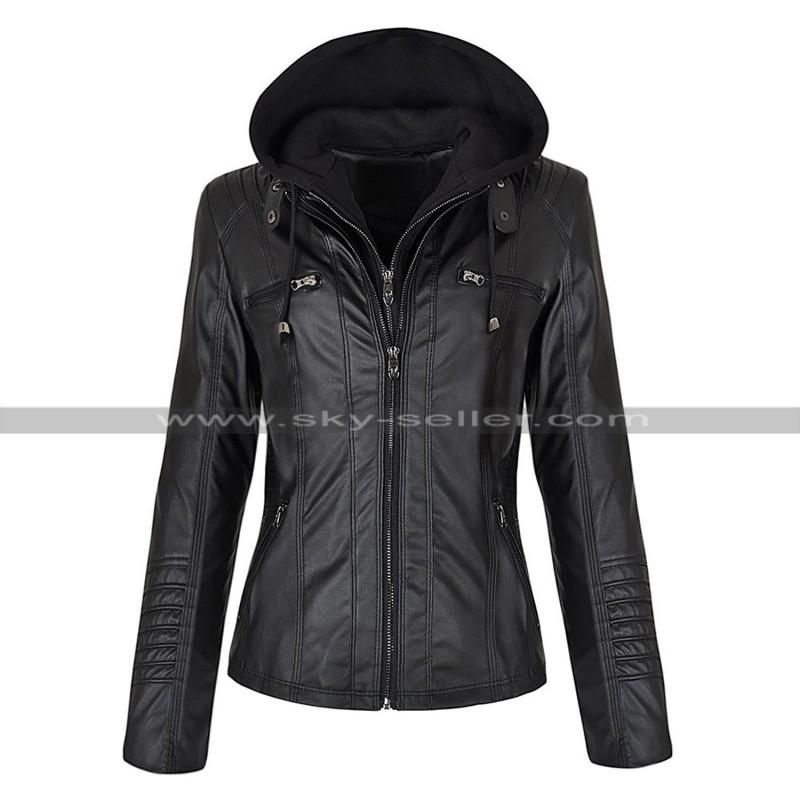 Women Biker Slim Fit Detachable Zipper Hoodie Leather Jacket