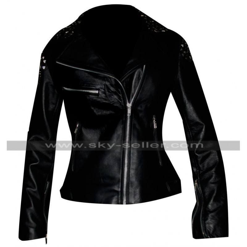 WWE Diva Paige NXT Black Leather Studded Biker Womens Jacket