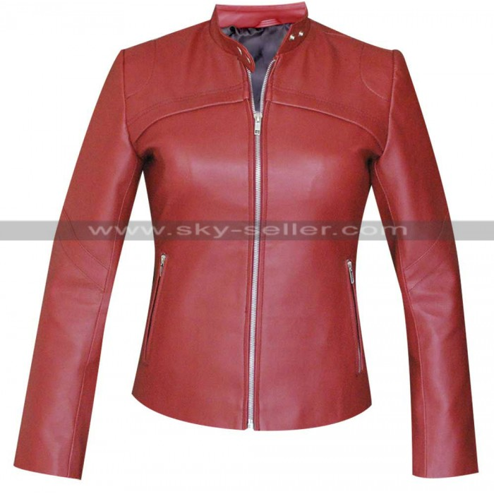 San Andreas Blake (Alexandra Daddario) Red Leather Jacket