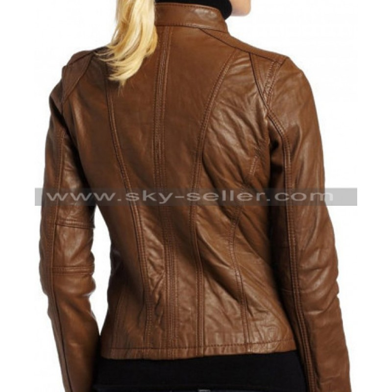 Dark brown leather jacket for women