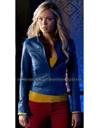 Supergirl Smallville Laura Vandervoort Blue Leather Jacket