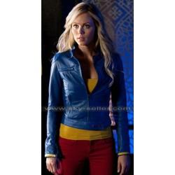 Supergirl Smallville Laura Vandervoort Blue Leather Jacket