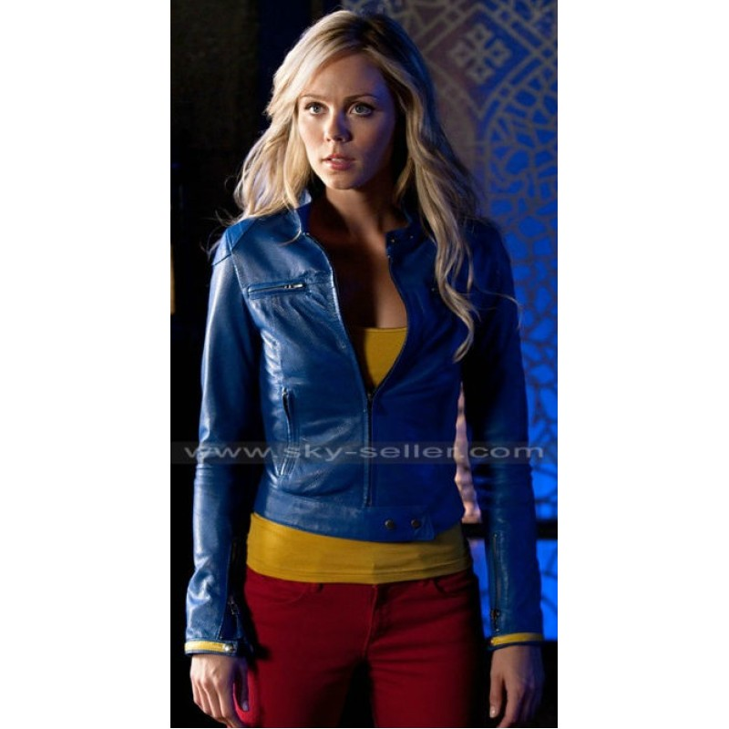Smallville Laura Vandervoort Blue Leather Jacket
