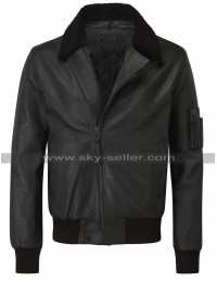 Women Fur Collar Aviator Flight Black Bomber Leather Jacket