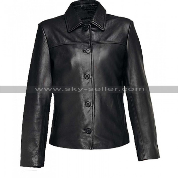 Women Shirt Collar Black Leather Jacket With Button