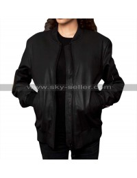 Women Military Patches Varsity Bomber Leather Jacket