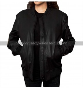 Women Patches Varsity Bomber Leather Jacket