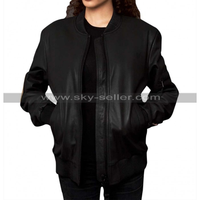 Women Military Patches Varsity Bomber Leather Jacket