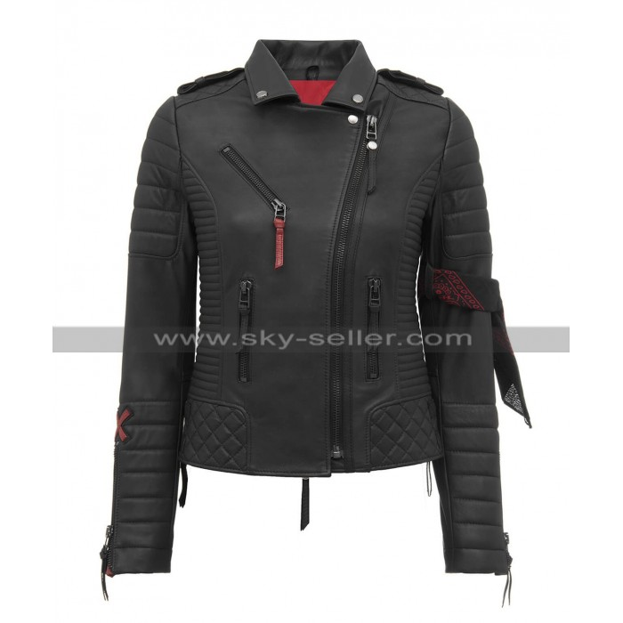 Women Slim Fit Stylish Quilted Motorcycle Brando Black Leather Jacket