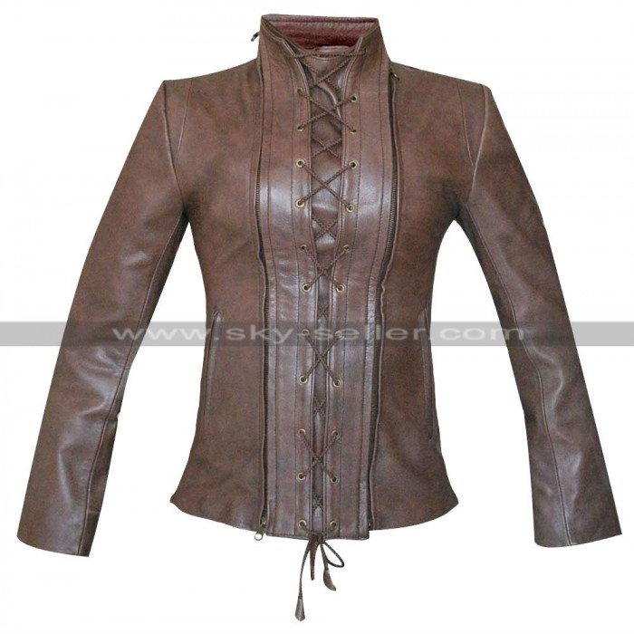 Womens Biker Lace-Up Brown Leather Jacket