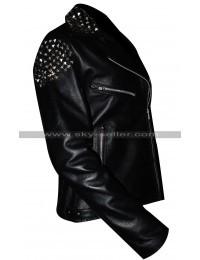 Wrestler Paige Studded Black Leather Jacket