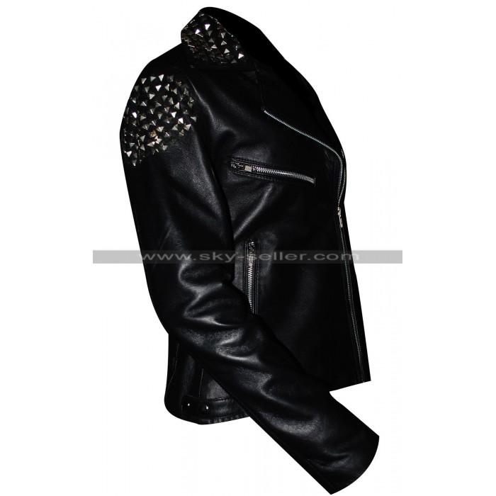 Wrestler Paige Studded Black Leather Jacket