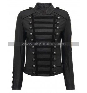 Women Napoleon Military Style Slim Fit Leather Jacket