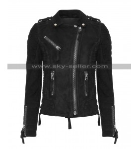 Women Slim Fit Motorcycle Black Suede Leather Jacket