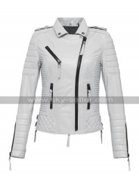 Women Slim Fit Iconic Quilted Brando Motorcycle White Leather Jacket