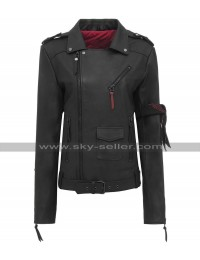 Women Slim Fit Classic Brando Black Biker Leather Jacket