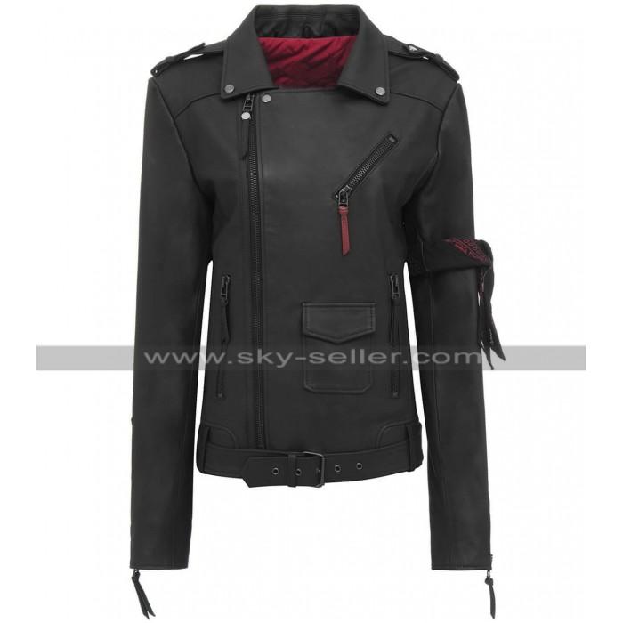 Women Slim Fit Classic Brando Black Biker Leather Jacket