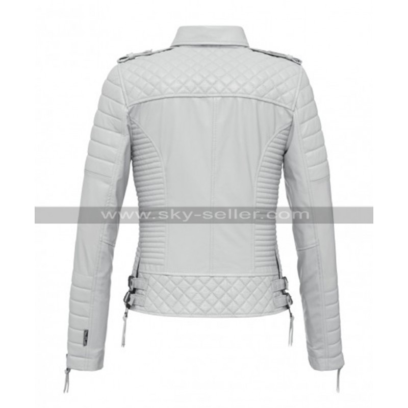 f21382ff0 Women Slim Fit Iconic Quilted Brando Motorcycle White Leather Jacket