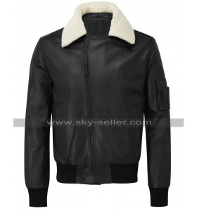 Women White Fur Collar Aviator Flight Bomber Leather Jacket