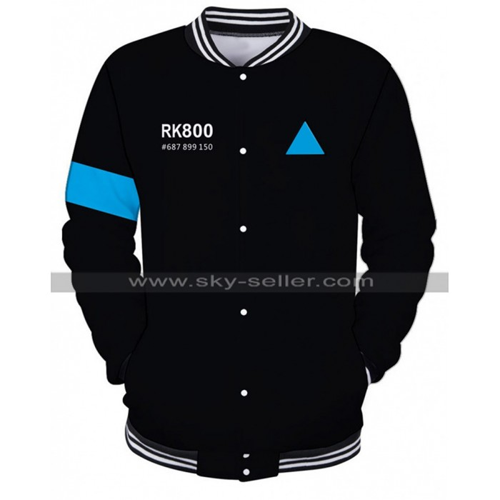 Detroit Become Human Android RK800 Connor Black Varisty Bomber Jacket
