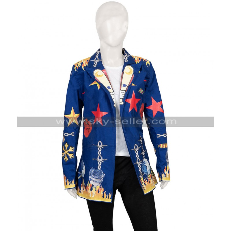 Birds Of Prey Blazer Harley Quinn Blue Coat Costume Patches Jacket