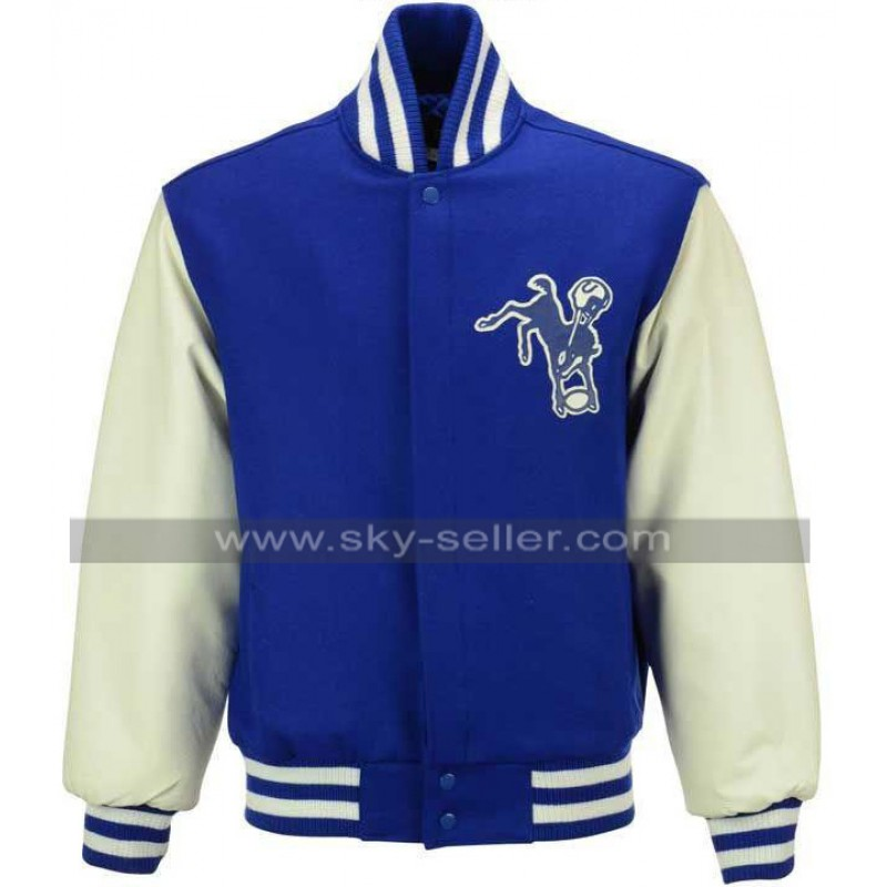new product 42a43 e47fc NFL Men's Wool and Leather Royal Jacket