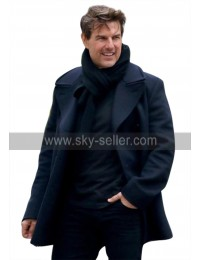 Mission Impossible 6 Fallout (Tom Cruise) Ethan Hunt Navy Blue Pea Wool Coat