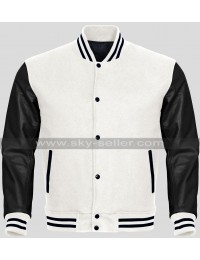 Men Black And White Varsity Bomber Letterman Jacket