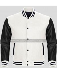 Men Black And White Varsity Bomber Letterman Jacket