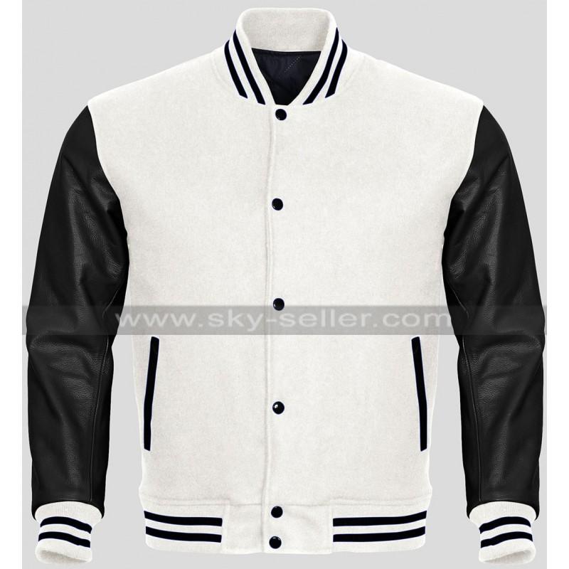 Varsity Letterman Baseball Sky Wool and Genuine Red Leather Sleeves Jacket