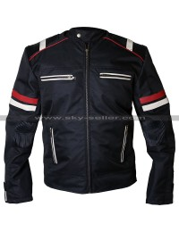 Men Biker Vintage Cafe Racer Retro Cordura Black Motorcycle Jacket