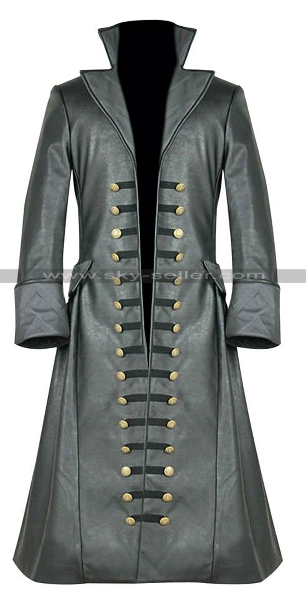 Black sails s3 pirate captain flint leather coat - Description